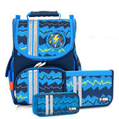 Tiger Family經典小貴族超輕量護脊書包+文具袋+可拆鉛筆盒-藍色條紋