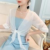 配吊帶裙子的小外套夏季新款百搭短袖雪紡防曬開衫薄披肩式上衣女