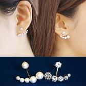 925純銀耳環 鑲鑽(耳針式)-後掛式不對稱珍珠生日情人節禮物女飾品73ag242[巴黎精品]