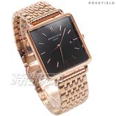 ROSEFIELD 歐風美學 時尚簡約 方形 不鏽鋼 女錶 防水手錶 玫瑰金x黑 QBSR-Q19