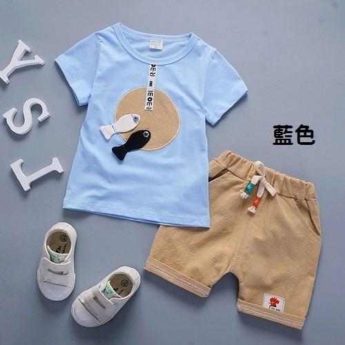 短袖套裝 立體小魚 棉質上衣 + 短褲 寶寶童裝 CK0454 好娃娃