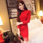 春夏季新款韓版夜店女裝簡約旗袍修身性感流蘇長袖包臀洋裝 【販衣小築】