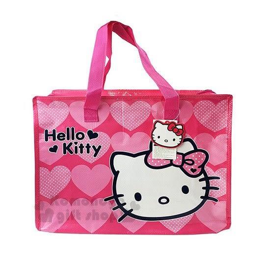 〔小禮堂〕Hello Kitty 大型購物袋《M.桃.大臉.愛心》棉被袋.衣物收納袋.環保袋 8805176-19840