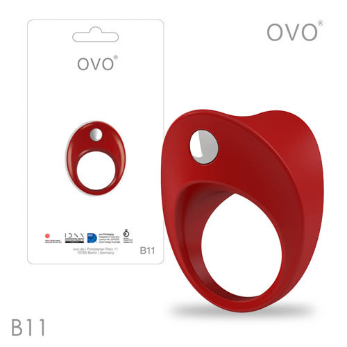 情趣用品 猛男裝備德國OVO-B11 前衛男性 矽膠靜音時尚震動環-紅色
