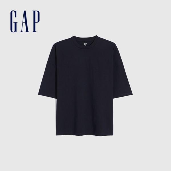 Gap男裝 純棉厚磅純色圓領短袖T恤 662321-海軍藍