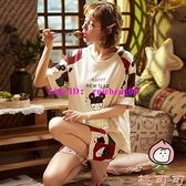 大碼純棉睡衣女夏季短袖薄款兩件套裝家居服【桃可可服飾】