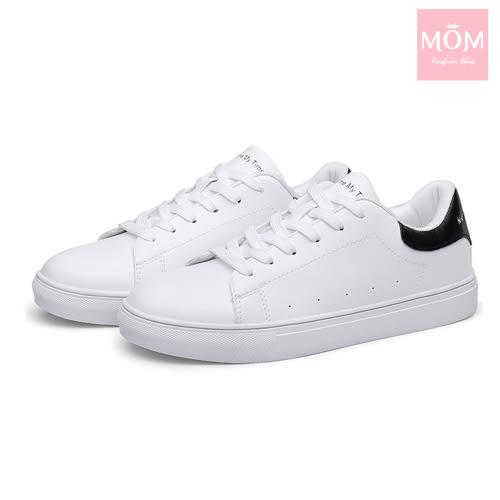 時尚撞色經典情侶款小白鞋運動休閒鞋 白黑 *MOM*