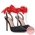 尖頭高跟涼鞋 紅色緞帶綁帶細跟 高跟鞋 晚宴鞋 新娘鞋*KWOOMI-A51