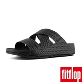 【FitFlop】CHI SLIDES IN WOVEN EMBOSSED LEATHER(黑色)
