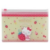 小禮堂 Hello Kitty 防水口罩夾鏈袋 透明口罩包 口罩夾 口罩套 (黃粉 草莓) 4548626-13578
