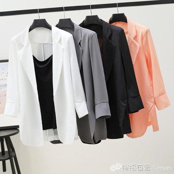 雪紡小西裝外套女春夏季新款韓版寬鬆防曬衣中長款空調開衫薄