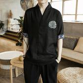 中國風男裝荷花刺繡男士7分袖V領棉麻短袖