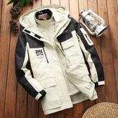 戶外沖鋒衣男女中長款韓國潮防水防風三合一滑雪服可拆卸外套男 滿天星