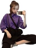 春夏韓版女裝兩件套寬松ins超火純色簡約半袖襯衫吊帶闊腿褲套裝