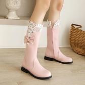 長筒靴 馬丁靴女春秋長靴甜美公主女靴子2021新款女士平底短靴冬季中筒靴 百分百