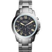 FOSSIL 都會雅爵三眼計時腕錶/手錶-灰藍x鐵灰/46mm FS5185