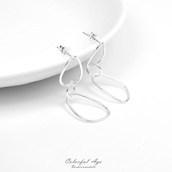 銀飾 落落大方環扣環純銀耳針耳環NPD211