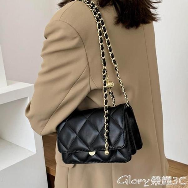 小方包 斜背包女包鍊條菱格側背包包2021新款潮簡約小方包早秋款小包包女  【新品】
