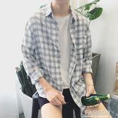 2018秋季新款小清新格子襯衫男韓版情侶長袖襯衣薄款百搭寸衫外套-Ifashion