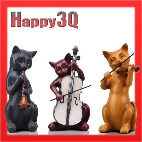 田園創意歐美復古風質感書房客廳嗩吶大提琴小提琴音樂樂團貓咪擺飾-三件組【AAA1140】預購