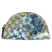 【GUCCI 古馳】431380 Blooms天竺葵印花淺藍色手拿/化妝包(藍)