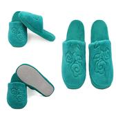 ※ _ 花朵圖案珊瑚絨室內止滑拖鞋綠色【Z422134 】