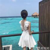 海邊度假風性感露背沙灘裙子女翅膀拼接吊帶裙夏季氣質高腰連身裙 歌莉婭