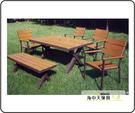 {{ 海中天休閒傢俱廣場 }} G-52 戶外時尚 塑木桌椅系列 35-2 150cm塑木長方桌組(1桌5椅)
