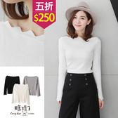 【五折價$250】糖罐子純色花邊領針織衫→現貨【E46977】