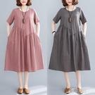 短裙洋裝 文藝大碼寬鬆拼接條紋棉麻圓領短袖洋裝女裝中長款2021夏季新款 16原本