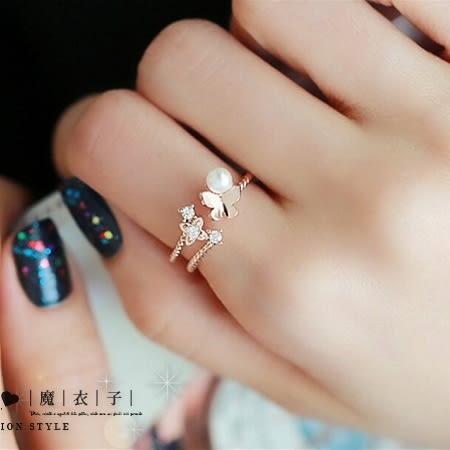 【QDJJ2508】魔衣子-時尚蝴蝶珍珠開口戒指