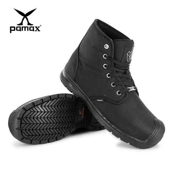 PAMAX 帕瑪斯-超彈力高抓地力戰鬥安全靴/PX8801FEH-黑色機能布中筒靴/男女尺寸4-12-鞋頭防踢撞開口笑