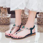 花朵涼鞋女平跟波西米亞民族風平底百搭度假海邊沙灘鞋 檸檬衣舍