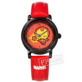 Disney 迪士尼 / MV-81052R / 漫威系列 Q版鋼鐵人 復仇者聯盟 兒童錶 卡通錶 皮革手錶 紅x黑 29mm