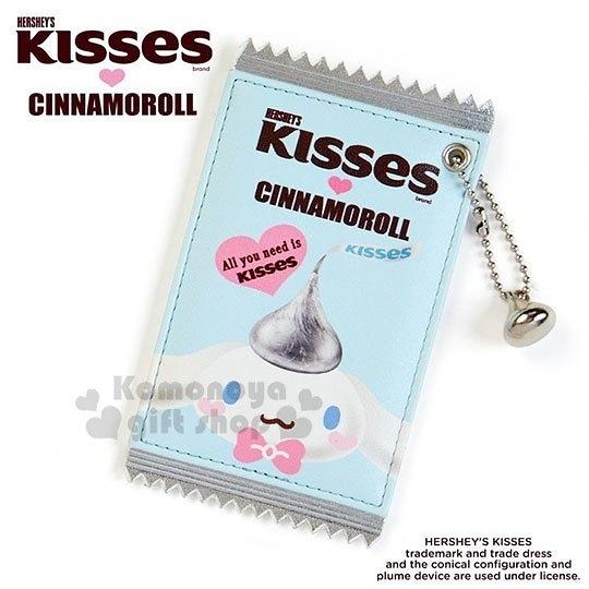 〔小禮堂〕大耳狗 Hershey s KISSES 巧克力造型皮質票卡夾《藍》證件夾.車票夾 4901610-38119