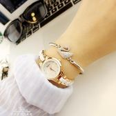 手錶女學生韓版簡約休閒大氣時尚潮流復古手錬錶女士防水石英女錶「夢娜麗莎精品館」