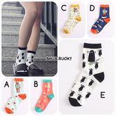 日本插畫動物圖案襪✌️✌ 中筒襪 短襪子 可愛 卡通 動物 復古  搭配