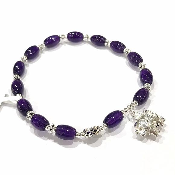 『晶鑽水晶』天然特級紫水晶 純銀手鍊 約5x7mm 米型 早期商品 色澤超優 開發智慧 附禮盒