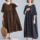 中大尺碼洋裝 2020夏季新款胖mm大碼女裝寬鬆短袖棉麻大擺裙亞麻印花顯瘦連身裙
