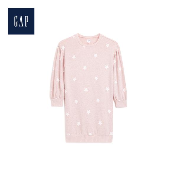 Gap女童柔軟妙趣印花落肩長袖洋裝497513-粉色