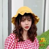遮陽帽防曬可愛軟妹小帽檐黃色漁夫帽女日系薄款韓版【樂淘淘】