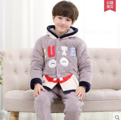 熊孩子☃兒童睡衣男童秋冬季加厚款法蘭絨夾棉3-5珊瑚絨寶寶家居服7-9周歲(1699)