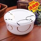 便當盒 耐高溫微波爐適用寶寶蒸蛋碗陶瓷碗帶蓋家用泡面碗上班族骨瓷飯盒 晶彩