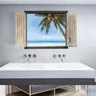 椰子樹假窗 壁貼 3D立體壁貼 海洋沙攤...