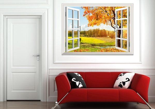 【秋意無邊牆貼】60*90創意3D窗戶立體視覺無痕貼紙  防水裝飾地板貼 山水風景