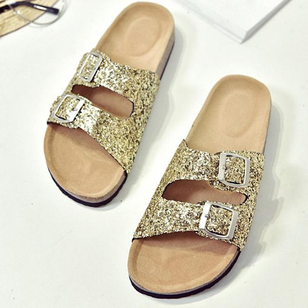 【Jingle】潮流時尚閃亮軟木雙扣一字拖夾腳涼拖鞋(亮片金全尺碼)大人款