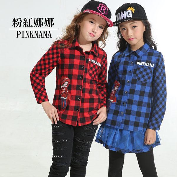 粉紅娜娜童裝 秋冬女大童剪接格紋純棉長袖襯衫35160