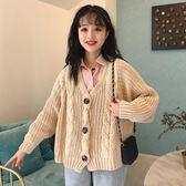 秋冬女裝韓版BF風寬鬆慵懶風短款鏤空網紅長袖毛衣針織衫開衫外套    歐韓流行館