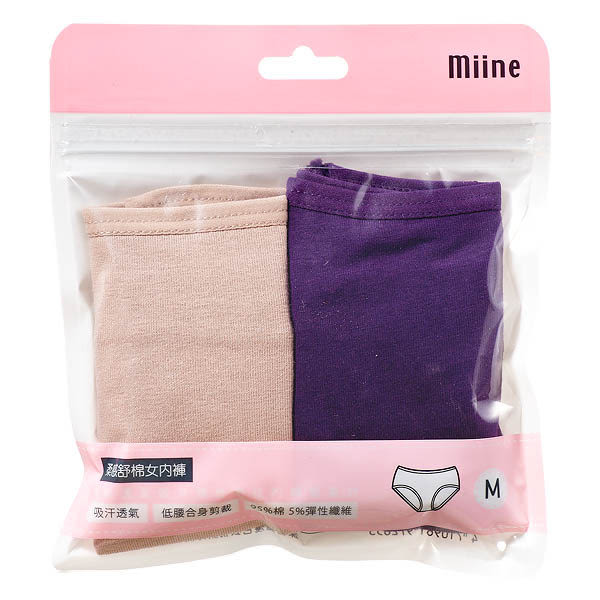 Miine 柔感舒棉女內褲2入組-M號 (顏色隨機出貨)【屈臣氏】