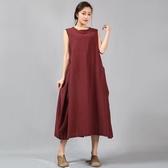 無袖連身裙-純色背後個性拼接女長裙4色73vu17【巴黎精品】